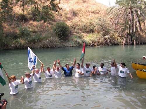 """""""big jump"""", """"jordan river"""", water, israel, jordan, palestine"""