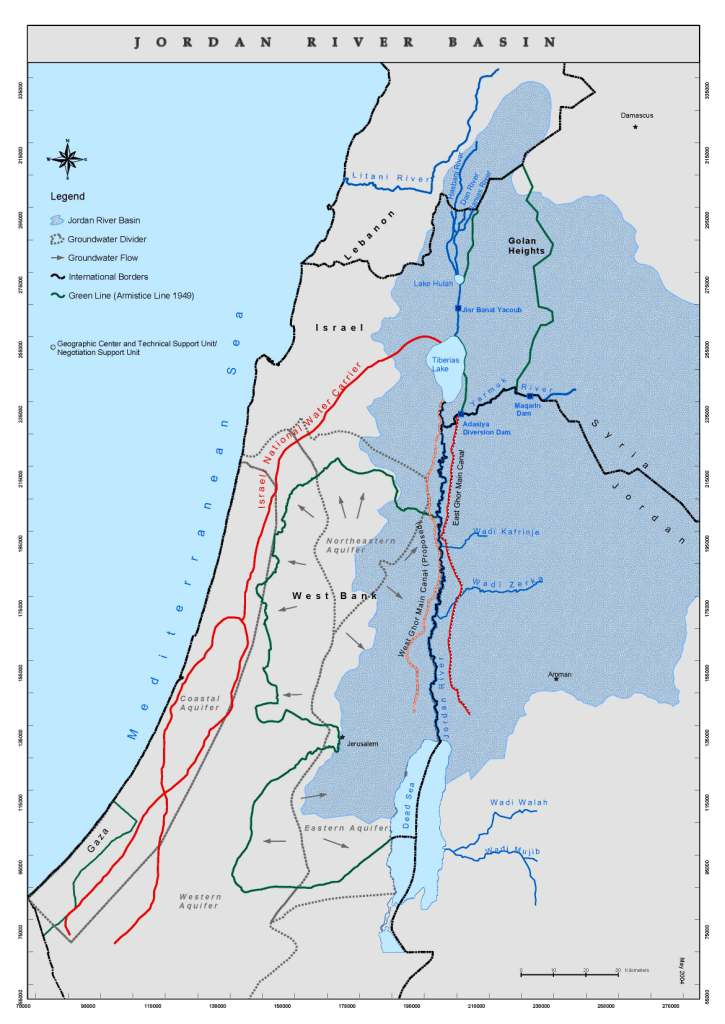 Middle East Map Dead Sea.Water Treaties Ecopeace Middle East