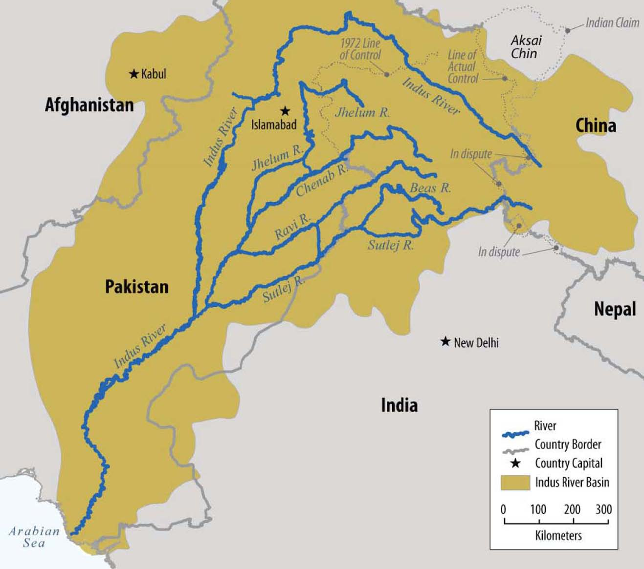 Map Of The Indus Basin SourceUS Senate Report EcoPeace Middle - World map indus river