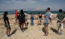 Mira guiding group at Dead Sea